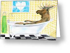 Moose Bath, Moose Painting, Moose Print, Bath Painting, Bath Print, Cottage Art Greeting Card