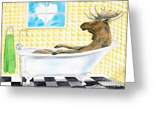 Moose Bath Greeting Card