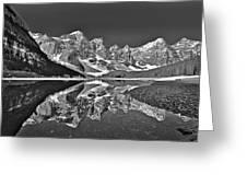 Moraine Lake - Black And White Greeting Card