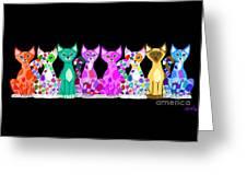 More Colorful Kitties Greeting Card