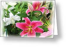 More Lilies Greeting Card by Victoria Sheldon