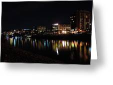 Morgantown Skyline At Night From The Waterfront Greeting Card