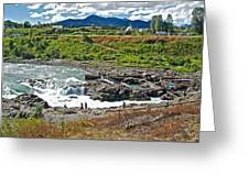 Moricetown Falls And Canyon Fishing Operation On The Bulkley River In Moricetwown-british Columbia  Greeting Card