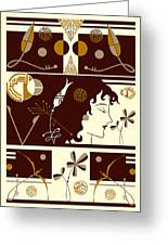 Morioka Montage In Brown And Gold Greeting Card