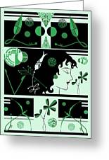 Morioka Montage In Green And Black Greeting Card