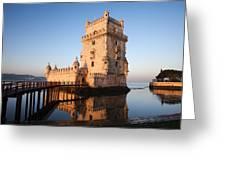 Morning At Belem Tower In Lisbon Greeting Card