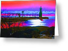 Morning At The Algoma Light An Abstract Greeting Card
