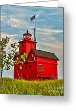 Morning At The Big Red Lighthouse Greeting Card