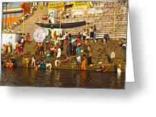 Morning Bathing At Kedar Ghat Greeting Card
