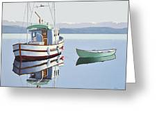 Morning Calm-fishing Boat With Skiff Greeting Card