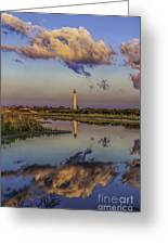 Morning Clouds At Cape May Light Greeting Card