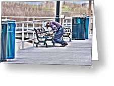 Morning Exercise On The Boardwalk Greeting Card