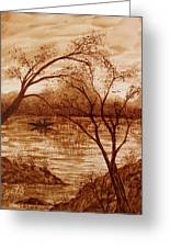 Morning Fishing Original Coffee Painting Greeting Card