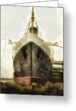Morning Fog Queen Mary Ocean Liner Bow 03 Long Beach Ca Photo Art 02 Greeting Card