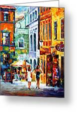 Morning Gossip - Palette Knife Oil Painting On Canvas By Leonid Afremov Greeting Card