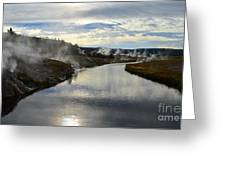 Morning In Upper Geyser Basin In Yellowstone National Park Greeting Card