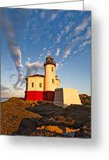 Morning Light At Coquille River Lighthouse Greeting Card