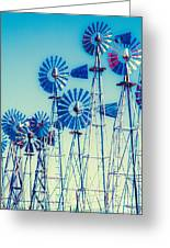Morning Light On  The Blue Windmills Greeting Card