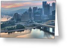 Morning Light Over The City Of Bridges Greeting Card