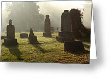 Morning Mist At The Cemetery Greeting Card