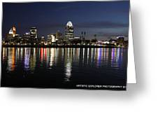 Morning Skyline Wo Bridge I Greeting Card