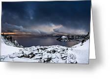 Morning Storm At Crater Lake Greeting Card