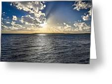 Morning Sun Punching Through The Clouds In St. Croix Greeting Card
