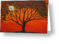 Morning Tree-with Yellow And Orange Sky Lit By Dawn Sun Greeting Card