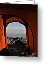 Morning View At The  Karanga Valley In 4000 Meters At Mount Kilimanjaro In Tanzania Greeting Card