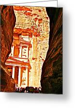 Morning View Of The Treasury From The Gorge In Petra-jordan  Greeting Card