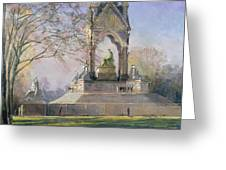 Morning Visitors To The Albert Memorial Oil On Canvas Greeting Card
