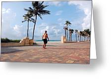 Morning Walk Along The Hollywood Beach Boardwalk Greeting Card by Shawn Lyte
