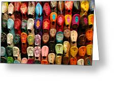 Moroccan Babouches Old Medina Marrakesh Morocco Greeting Card