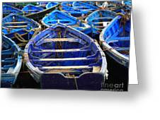 Moroccan Blue Fishing Boats Greeting Card