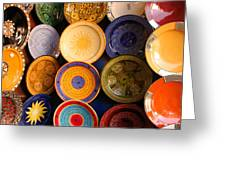 Moroccan Pottery On Display For Sale Greeting Card