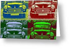 Morris Car In Pop Art Greeting Card