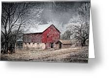 Morris County Red Barn In Snow Greeting Card
