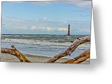 Morris Island Light With Driftwood Greeting Card
