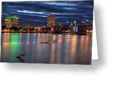Morrison Bridge Over Willamette River Portland Oregon Greeting Card