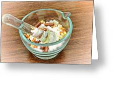 Mortar And Pestle With Drugs Greeting Card