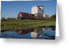 Train Reflection At Mortlach Saskatchewan Grain Elevator Greeting Card by Steve Boyko