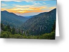 Mortons Overlook Smoky Mountain Sunset Greeting Card