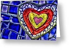 Mosaic Heart By Diana Sainz Greeting Card