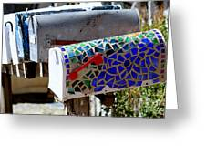 Mosaic Mailbox On The Turquoise Trail In New Mexico Greeting Card