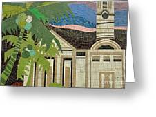 Mosaic Of Church With Palm Tree Greeting Card