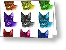 Mosaic Savannah Cat - 5462 F - M - Wb Greeting Card