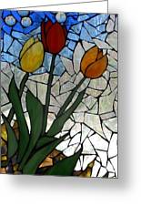 Mosaic Stained Glass - Spring Shower Greeting Card