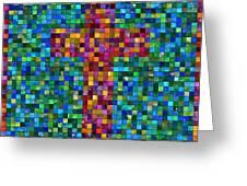Mosaic Tile Cross Greeting Card