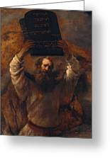 Moses With The Ten Commandments Greeting Card
