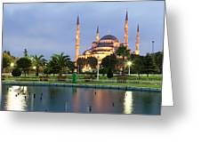 Mosque Lit Up At Dusk, Blue Mosque Greeting Card